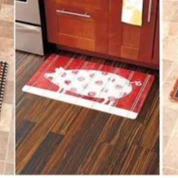 Kitchen Floor Mat Rug Comfort Cushioned Cook Rooster Pig Coffee Country Cabin