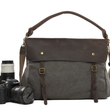Gray Professional Camera Bag Leisure SLR Camera Bag Leather Canvas DSLR Camera Bag 33683