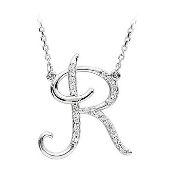 1/8 Ct Diamond 14k White Gold Medium Script Initial R Necklace, 17in