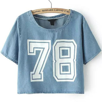 Number 78 Print Cropped Denim Short Sleeve T-shirt