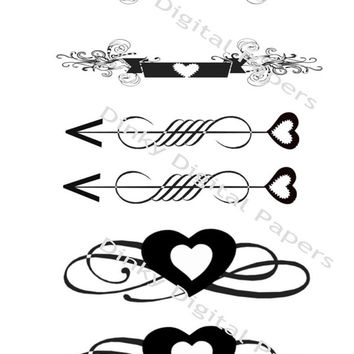 Arrows Page Dividers, Ornamental Scrolls. Black and White, Decorative Embellishments, Heart Scrolls, Twirls, Decorative Arrows, Dividers,