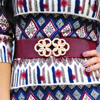 Fit For A Queen Belt: Burgundy/Gold | Hope's