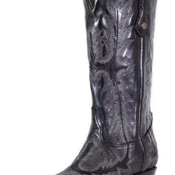 Corral Black Picasso Fancy Stitched Snip Toe Boots G1911