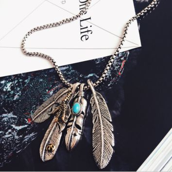 New feather necklace retro men accessories