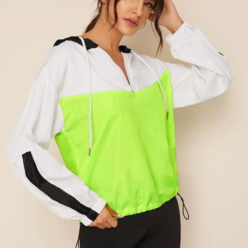 Colorblock Drawstring Hooded Windbreaker Jacket