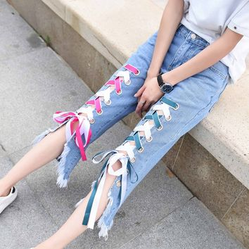 Color Straps Lace Up Rough Edge Irregular 3/4 Length Jeans
