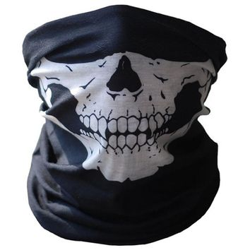 2017  Skull Half Face Mask Ghost Scarf Multi Use Neck Warmer Game Paintball Motorcycle Beanies hot sale Skullies & Beanies #5