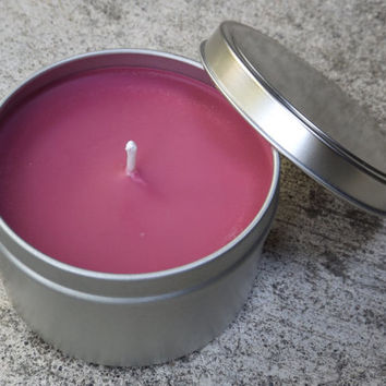 Pomegranate Cider Soy Candle Tin 8 Ounces- Fall Candles - Hand Poured Candles
