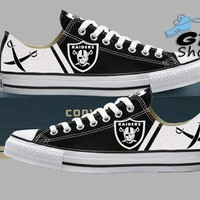 Hand Painted Converse Low Sneakers. Oakland Raiders. Raider nation. Football. Superbow