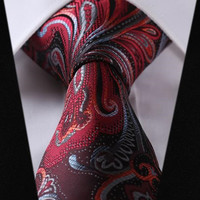 Dark Red Paisley Tie with Medium Red, Gray, and Black Accents Design