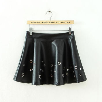 Stylish Handcrafts Rivet PU Leather Umbrella Dress Skirt [5013256708]