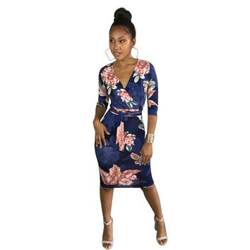 Women's Ladies Sexy V Neck 3/4 Sleeve Print Clubwear Casual Party Bodycon Dress
