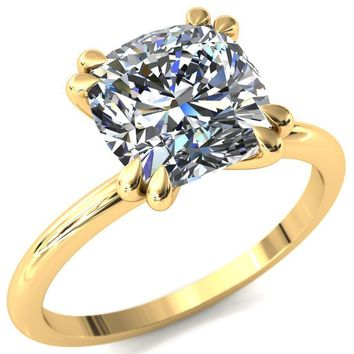 Gracey Cushion Moissanite 4 Double Claw Prong Engagement Ring