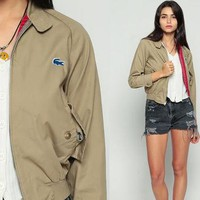 Lacoste Jacket 80s Khaki Windbreaker Bomber Jacket PLAID LINED Crocodile Raglan Sleeve