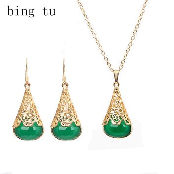 Bing Tu Green Water Drop Necklace Earrigs Set Vintage Gold Color Geometric Resin Jewelry Set For Women Bridal Bride Jewellery