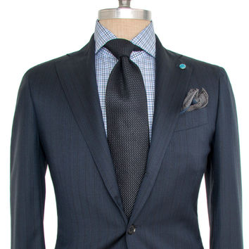 Eidos Napoli Blue Herringbone with Black Stripe Suit