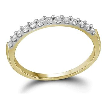 10kt Yellow Gold Women's Round Pave-set Diamond Wedding Band 1/6 Cttw - FREE Shipping (US/CAN)