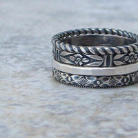 Silver Stacking Rings Floral Pattern Ring Rustic Antique Wedding Ring Band Stack