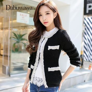 Trendy Dabuwawa Black Autumn Winter Long Sleeve Elegant Jacket O Neck Vintage Beading Jacket Women Outwear AT_94_13