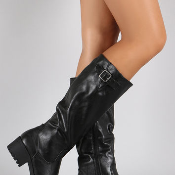 Bamboo Buckle Round Toe Riding Knee High Boot
