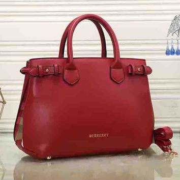 Burberry Women Fashion Leather Satchel Tote Shoulder Bag Handbag Crossbody-5