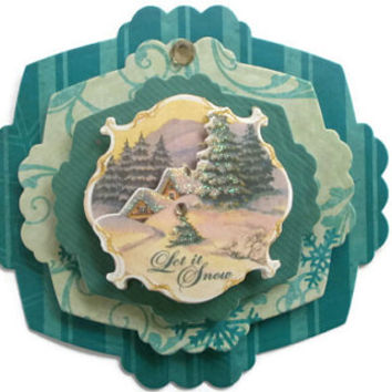 Christmas, Vintage, Snow, Scrapbook embellishment, Paper piecing, gift tags, Scrapbooking Layouts, Cards, Mini Albums Paper Crafts