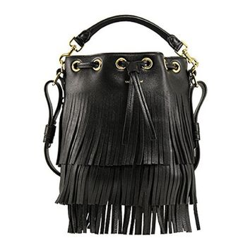 Saint Laurent YSL Small Black Leather Bucket Bag With Black Fringe 357603