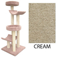 "Four Level Cat House -2 Cradles&2 Beds-Cream (Cream) (66""H x 30""W x 28""D)"
