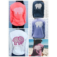 Women's Fashion Long Sleeve Cute Elephant Pattern Ivory Ella Letters Printed Pocket Pullover Tops Sweatshirt