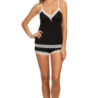 Jersey Lace Trim Tank and Shorts Pajama Set - Black/White