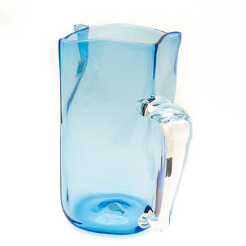 Pitcher. Blenko Handmade. Ice Blue Modern Pitcher, Square, With Clear Handle.