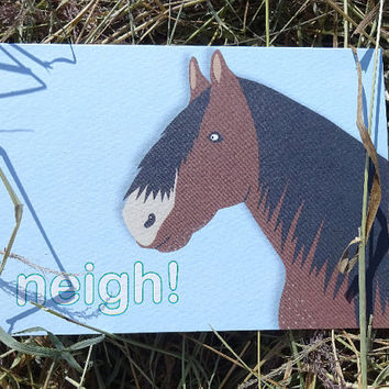 Horse card, this wonderful bright blue hand-illustrated farm animal greeting card is full of expression, blank for your own message