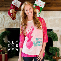 Tis the season to sparkle Pink Lace Raglan