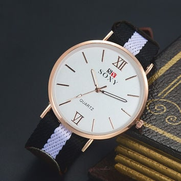 Unisex Classic Nylon Strap Watch Lover Watches + Gift Box-01