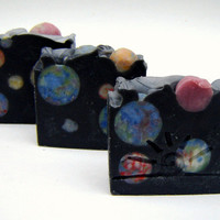 Outer Space Artisan Soap / Cold Process Soap / Mens Soap / Dragon's Blood Scented Soap / constellation