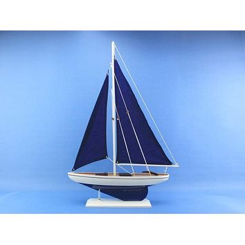 Wooden Blue Pacific Sailer with Blue Sails Model Sailboat Decoration 25""