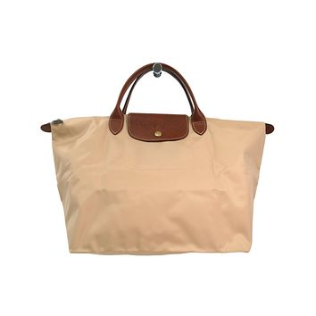 Auth LONGCHAMP Le Pliage M Tote Bag Nylon/Leather Veget 1623 089 514 (BF302104)