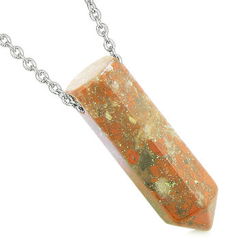 Amulet Lucky Crystal Point Wand Dragon Blood Jasper Bullet Style Powers Pendant 22 Inch Necklace