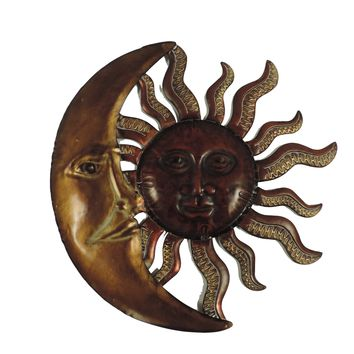 Well Designed Sun Moon Metal Wall Decor, Gold and Rust Brown -Benzara