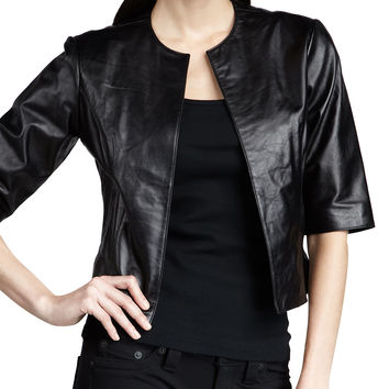 Leather Bolero Jacket, Size: