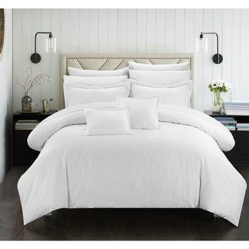 Chic Home 11-Piece Keynes Down Alt Jacquard White Striped Comforter Set   Overstock.com Shopping - The Best Deals on Bed-in-a-Bag