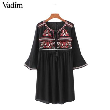 Women geometric embroidery dress bow tie three quarter sleeve casual pleated dresses