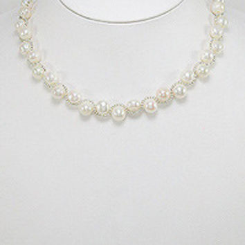 "16-18"" Zinc Freshwater Pearl Necklace with Seed Bead Details"