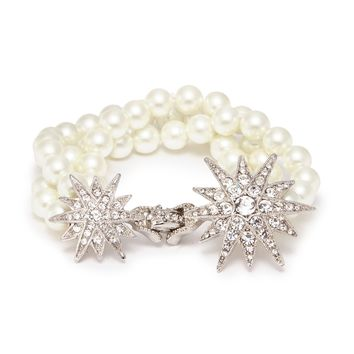 Kenneth Jay Lane | Glass crystal pavé starburst glass pearl bracelet | Women | Lane Crawford - Shop Designer Brands Online
