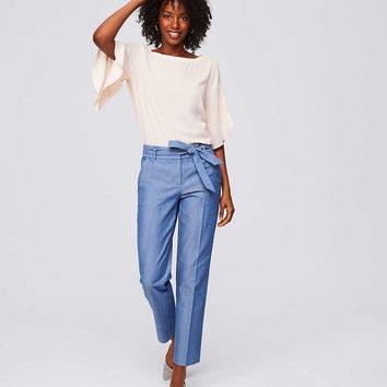 Slim Chambray Tie Waist Pants | LOFT