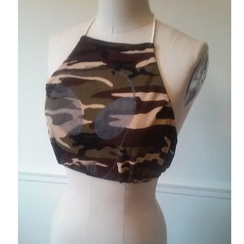 Camouflage Halter Top with Silver Happy Alien Face Screen Print size Medium