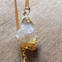 Citrine Nugget Necklace - Citrine Jewelry - Gold Necklace - Boho Necklace - Raw Citrine Necklace - Crystal Necklace - Merchant's Necklace