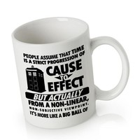 Ceramic Mug Coffee | Doctor Who Cause to effect Police Box blue