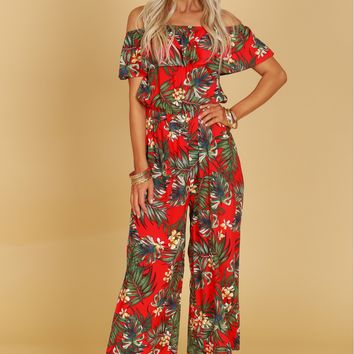 Ruffle Tropical Print Jumpsuit Red Multi