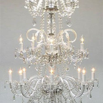 "Murano Venetian Style All Crystal Empress Crystal (Tm) Chandelier Lighting W 30"" H 60"" - A46-Cs/3/383/8+4+5"